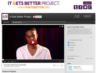 in october 2010 columnist dan savage used youtube to launch the it gets better project.jpg 22 bước ngoặt trong lịch sử phát triển Youtube